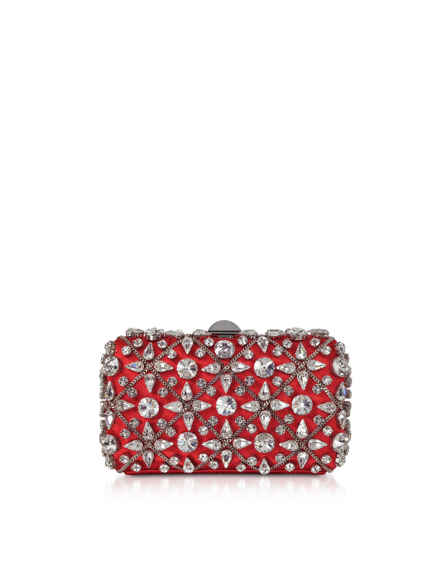 Red Satin Clutch w/Crystals and Chain