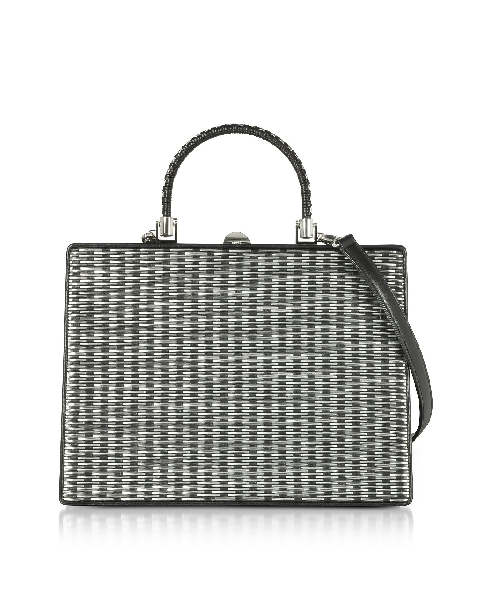 Black and Silver Woven Leather Squared Satchel Bag