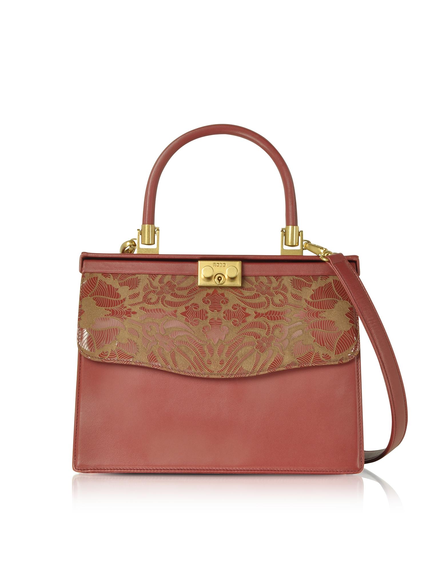 Rodo Handbags, Laser Printed Leather Top Handle Satchel Bag