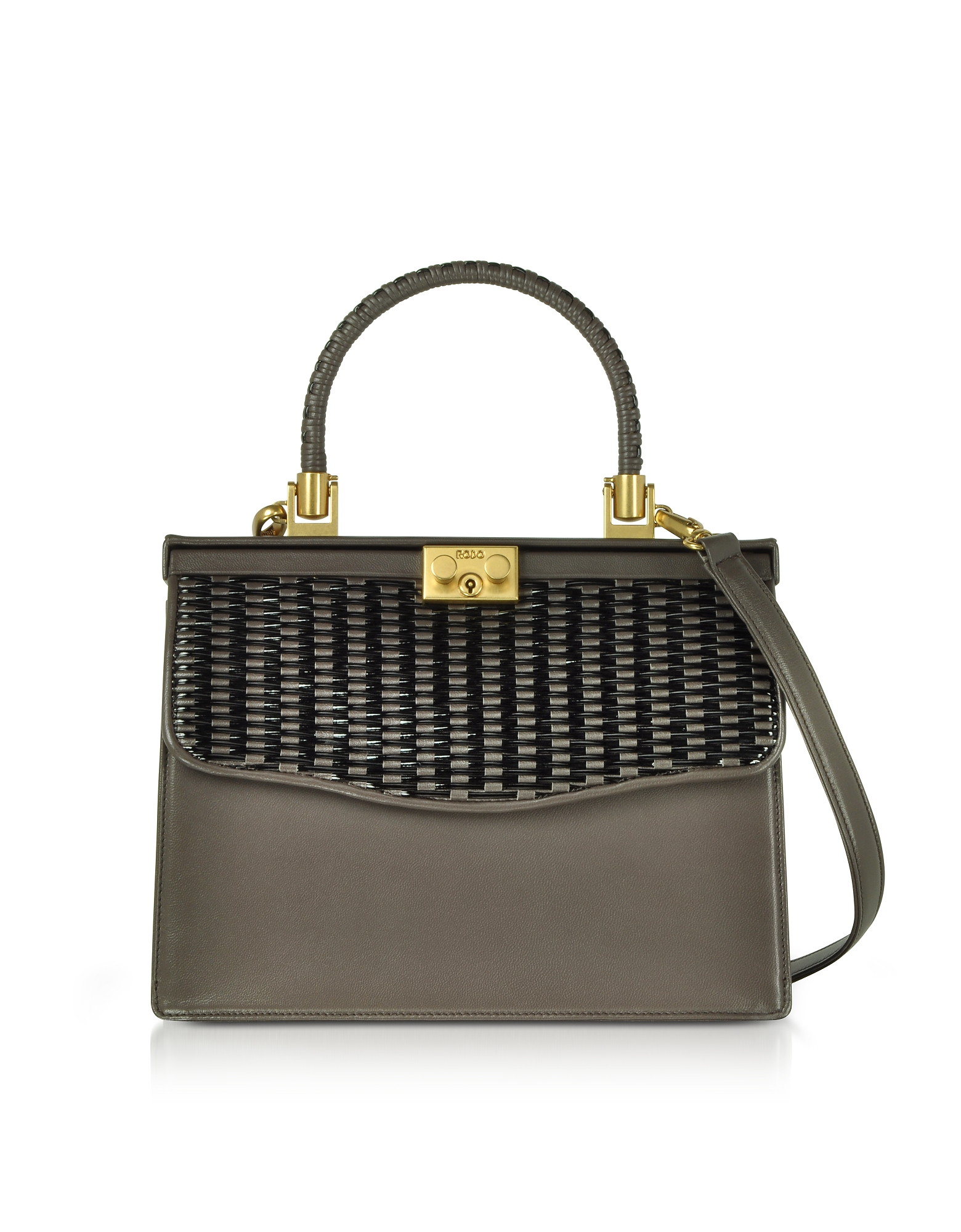 Rodo Handbags, Taupe Woven Leather Top Handle Satchel Bag