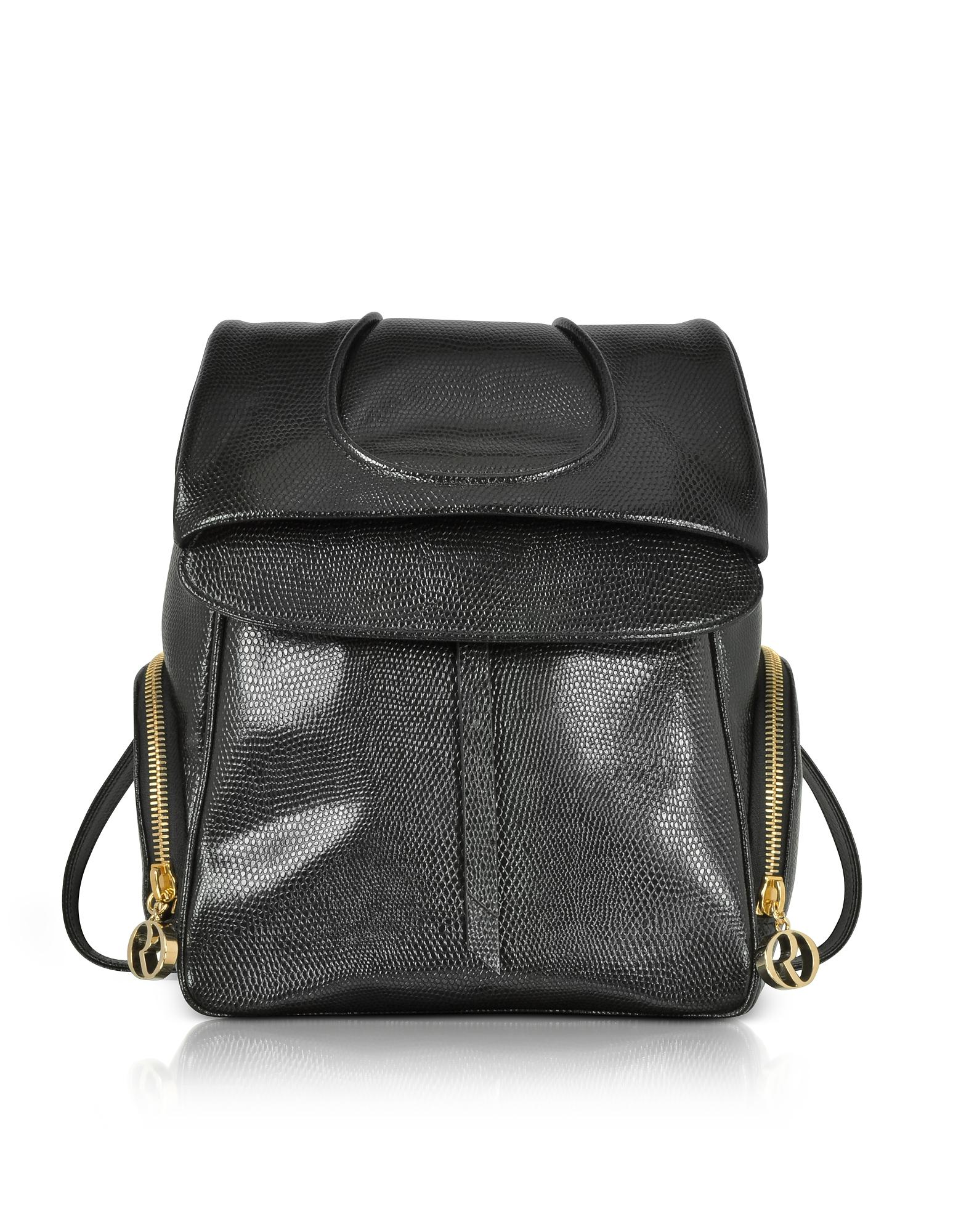 Black Lizard Embossed Leather Backpack