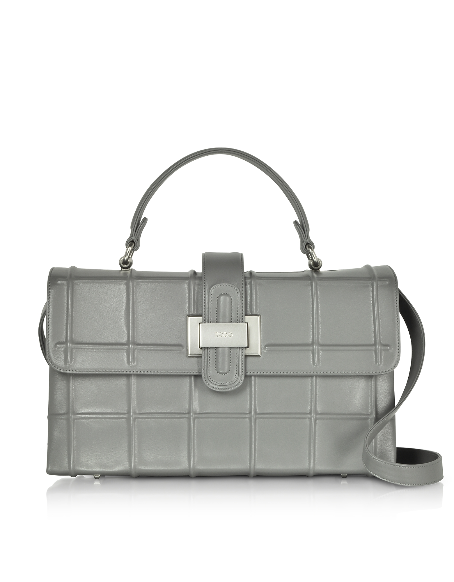 Fog Gray Leather Top Handle Satchel bag w/Shoulder Strap