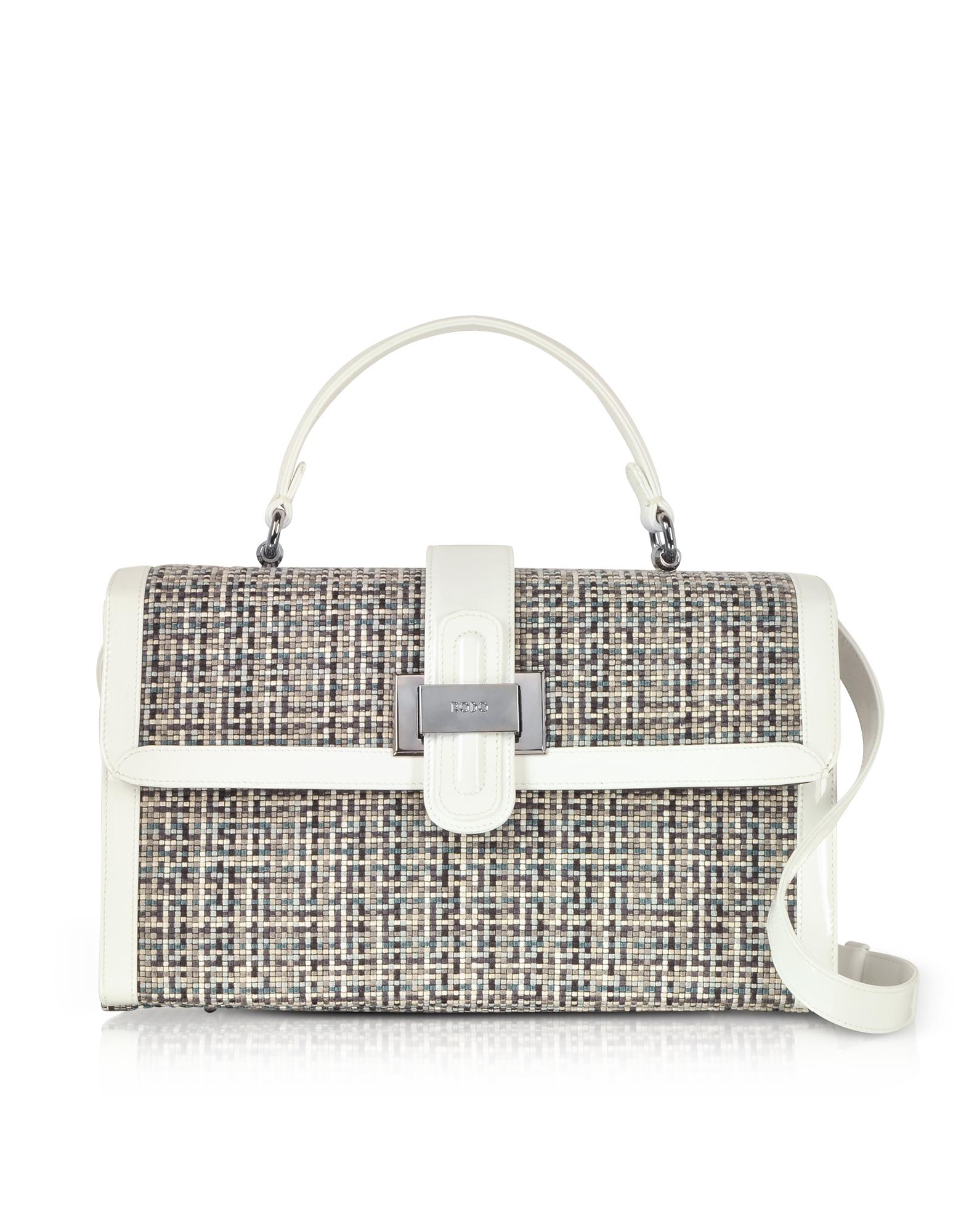 Rodo Handbags, Tweed and Patent leather Top Handle Satchel Bag