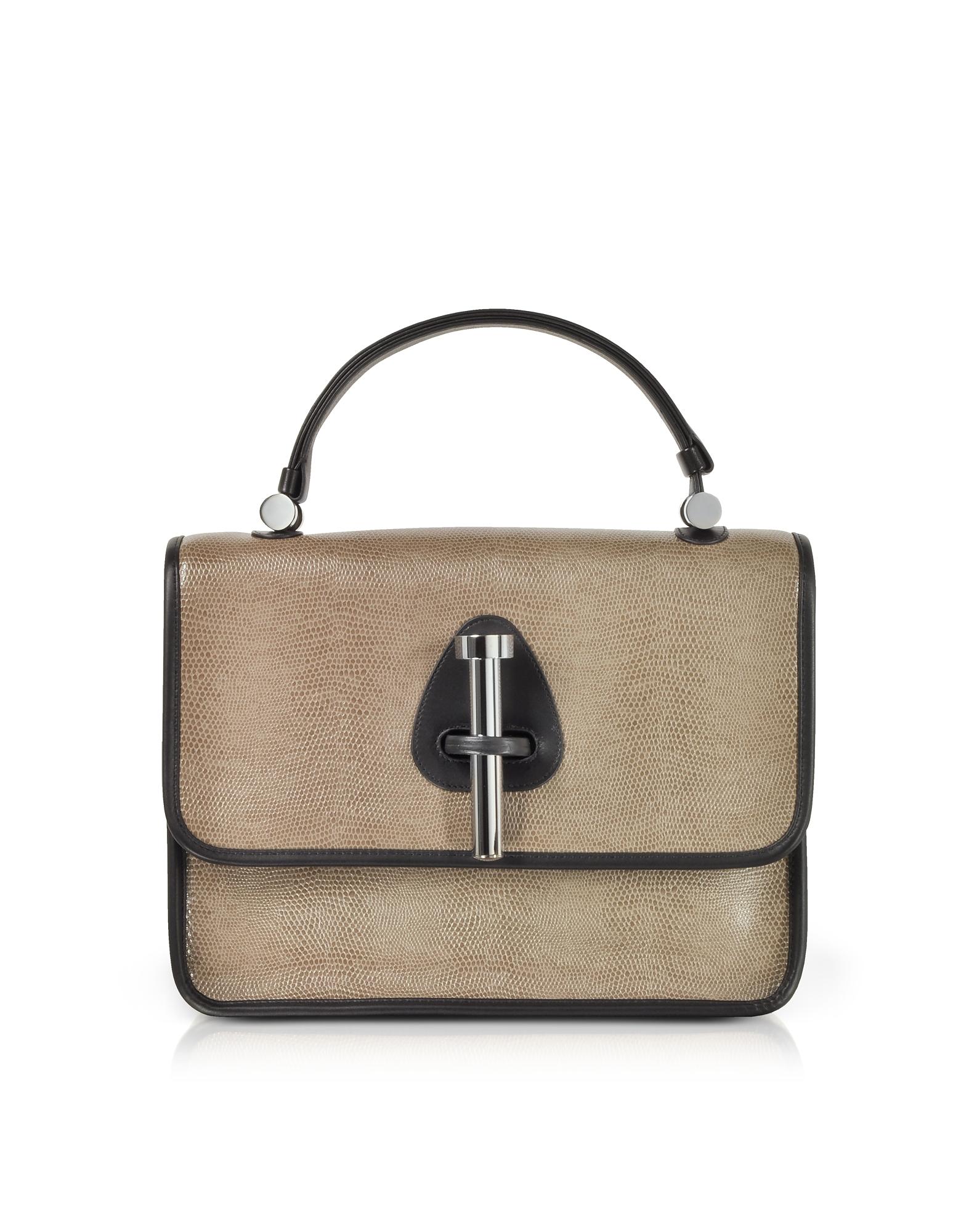 Rodo Handbags, Taupe Lizard Embossed Leather Satchel Bag