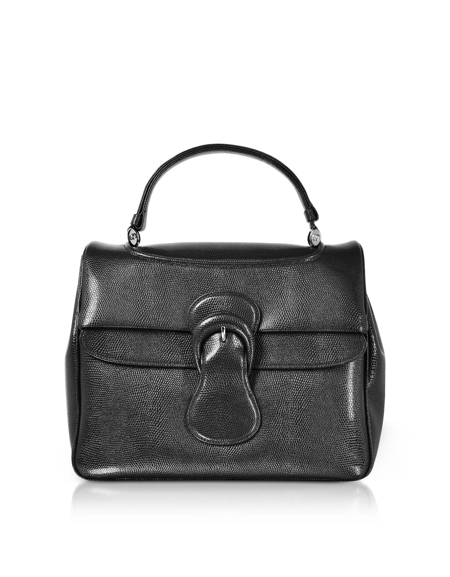 Rodo Handbags, Lizard Embossed Leather Satchel Bag