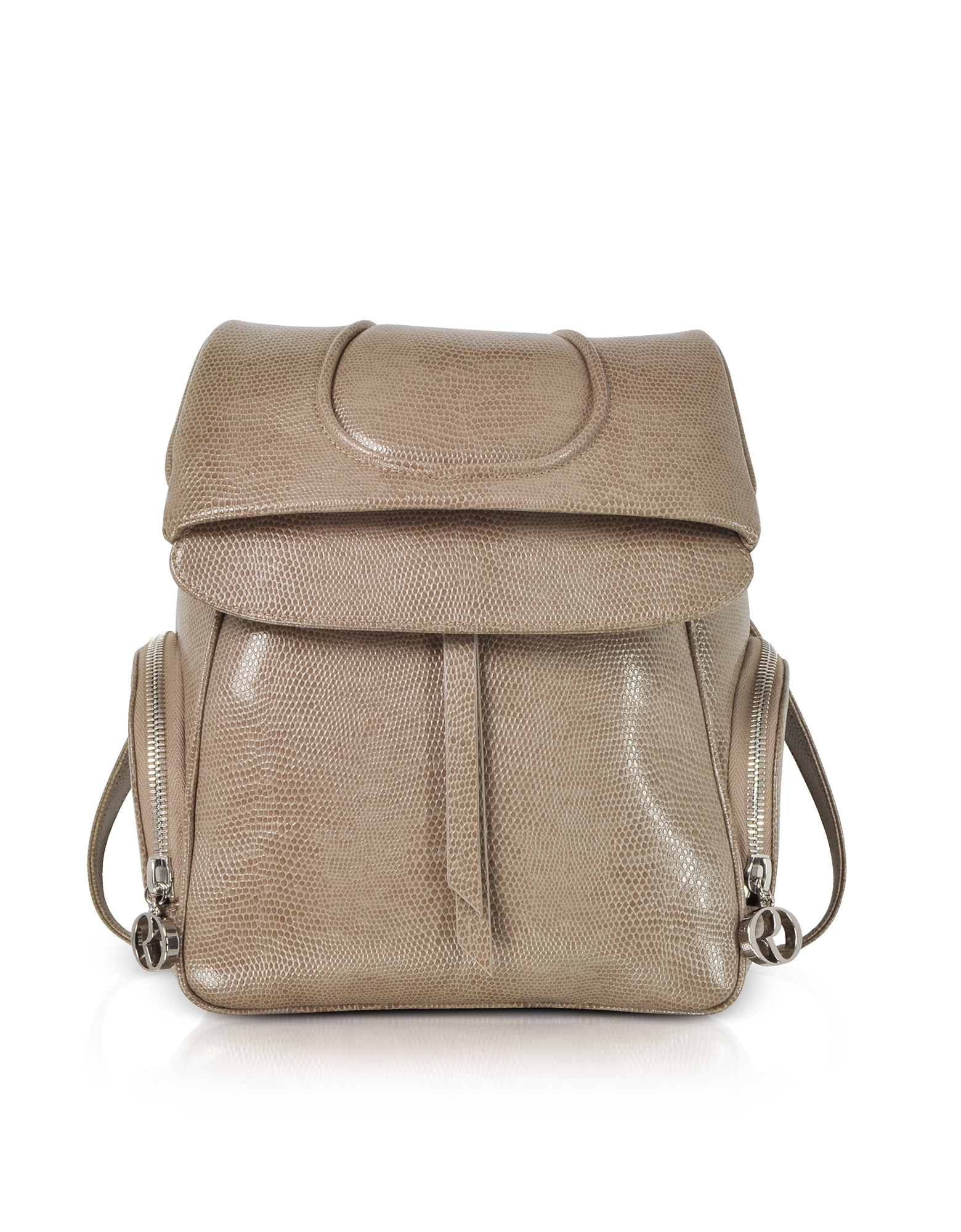 Taupe Lizard Embossed Leather Backpack. Taupe Lizard Embossed Leather Backpack, is a sleek take on the urbanites' favorite bag with a