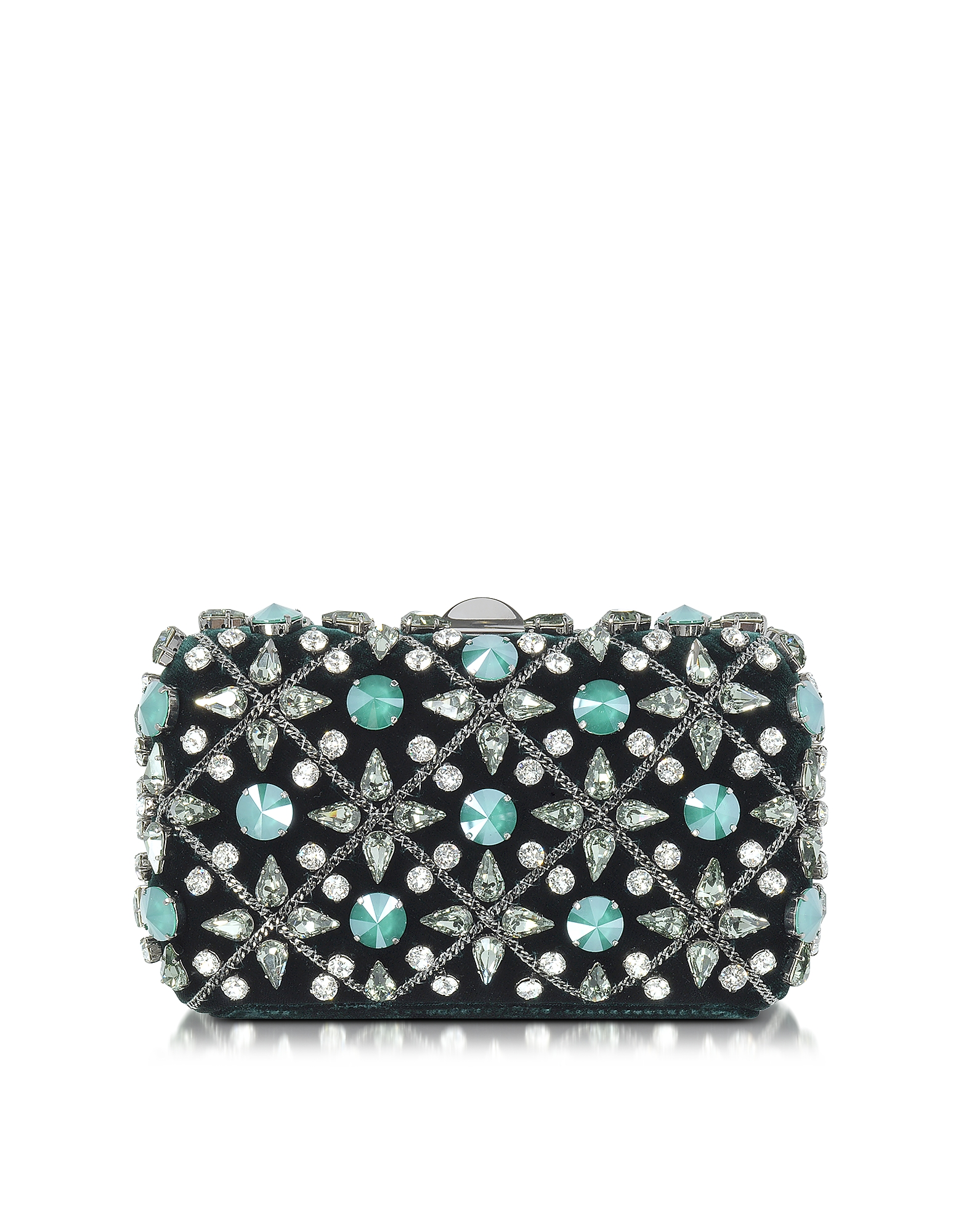 Rodo Handbags, Emerald Green Velvet Tresor Clutch w/Crystals