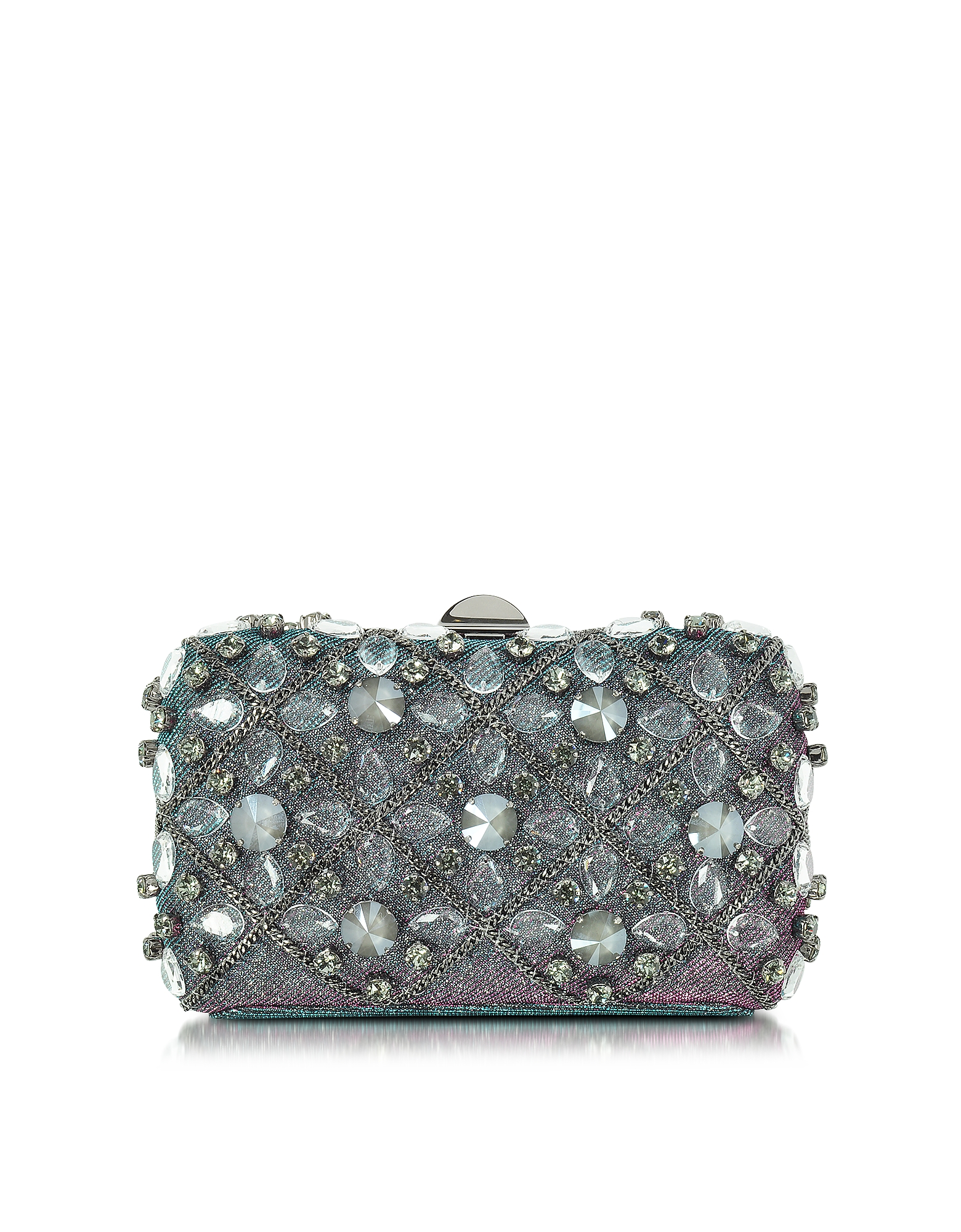 Rodo Handbags, Iridescent Lurex Tresor Clutch w/Crystals and Chains