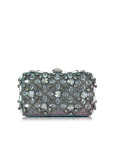 Iridescent Lurex Tresor Clutch w/Crystals and Chains - Rodo