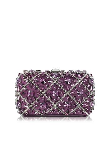 Rodo - Purple Silk Tresor Clutch w/Crystals