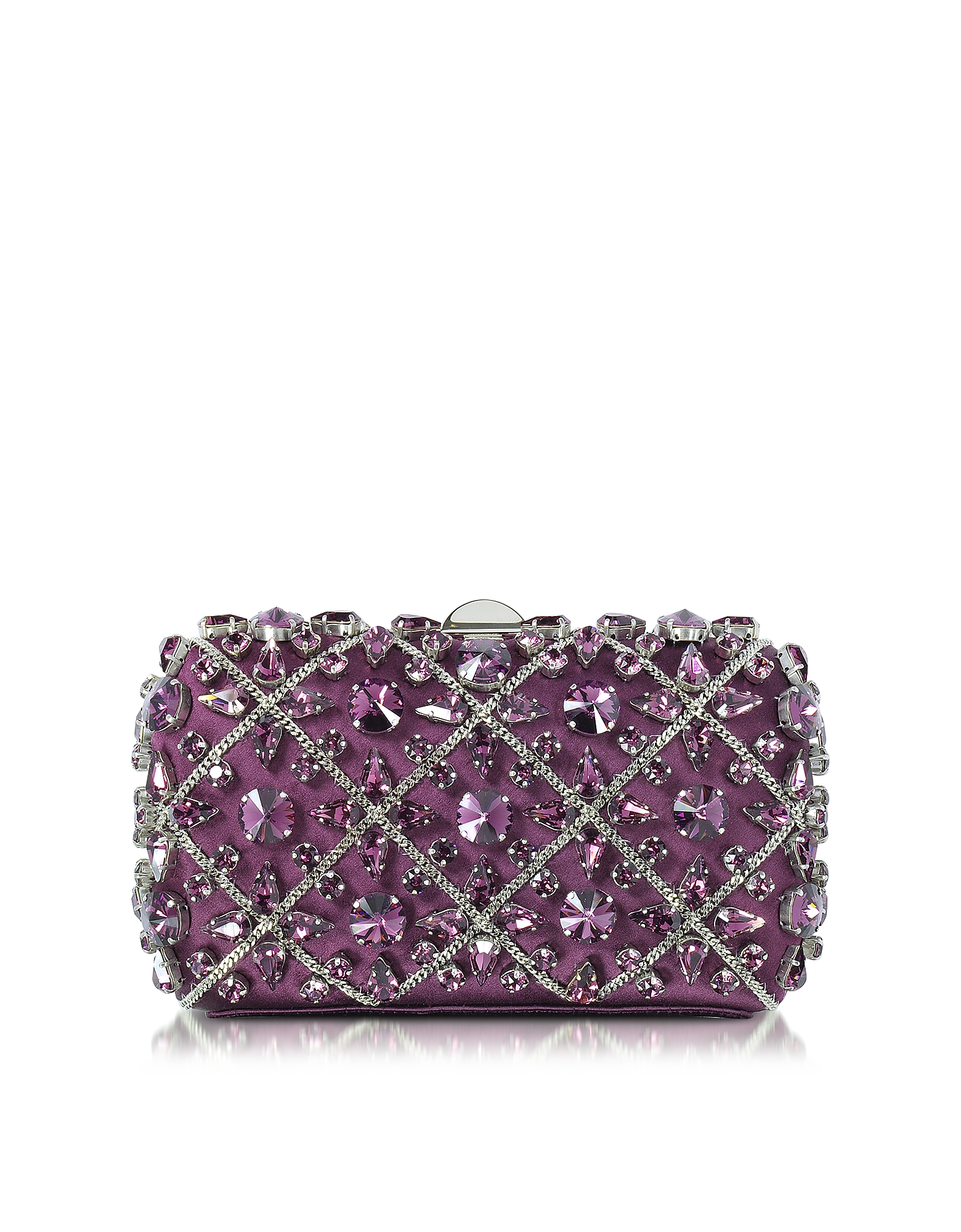 Rodo Handbags, Purple Silk Tresor Clutch w/Crystals