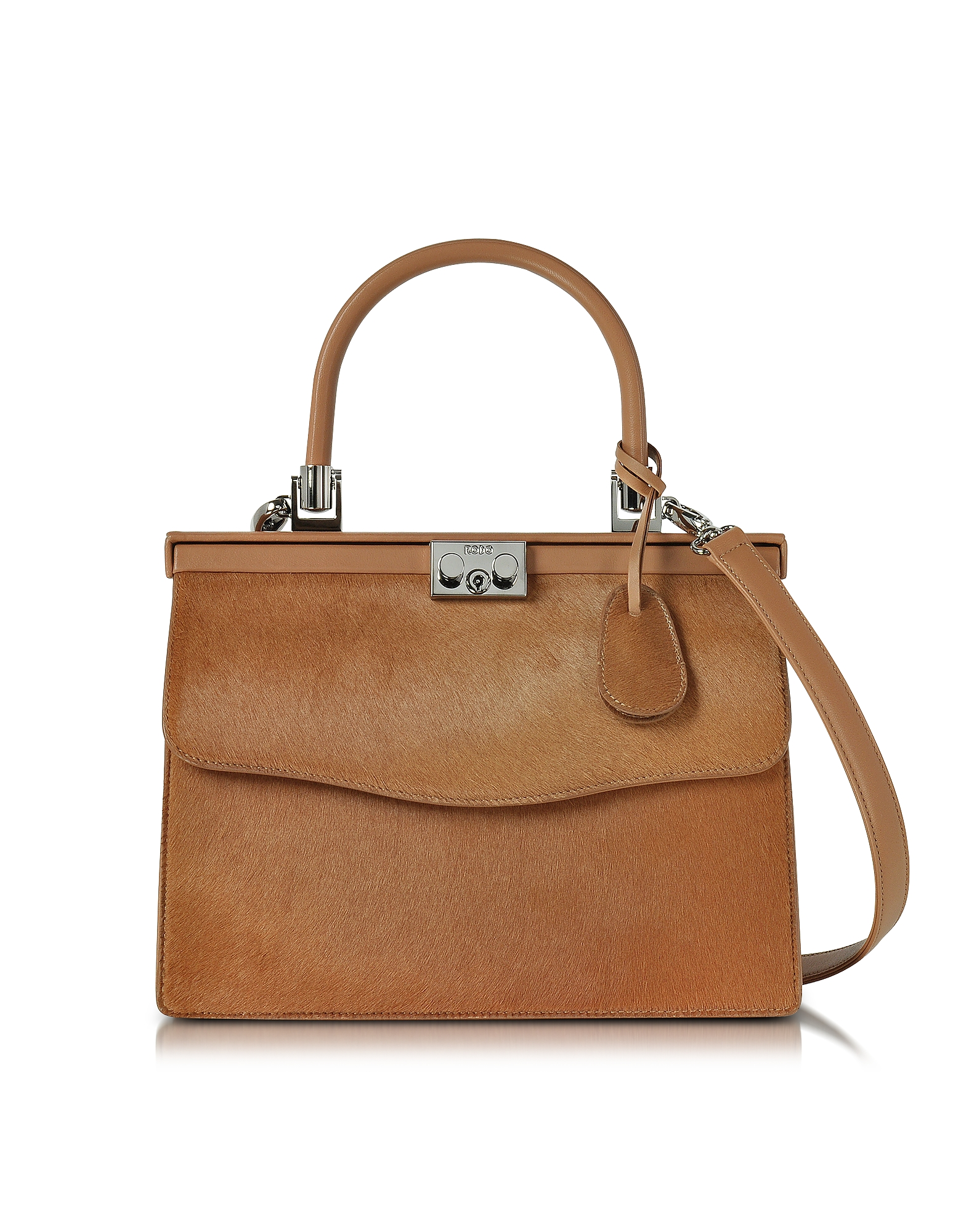 Rodo Handbags, Light Brown Haircalf and Leather Top Handle Paris Bag