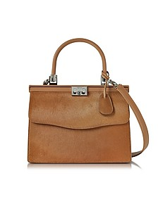 Light Brown Haircalf and Leather Top Handle Paris Bag - Rodo