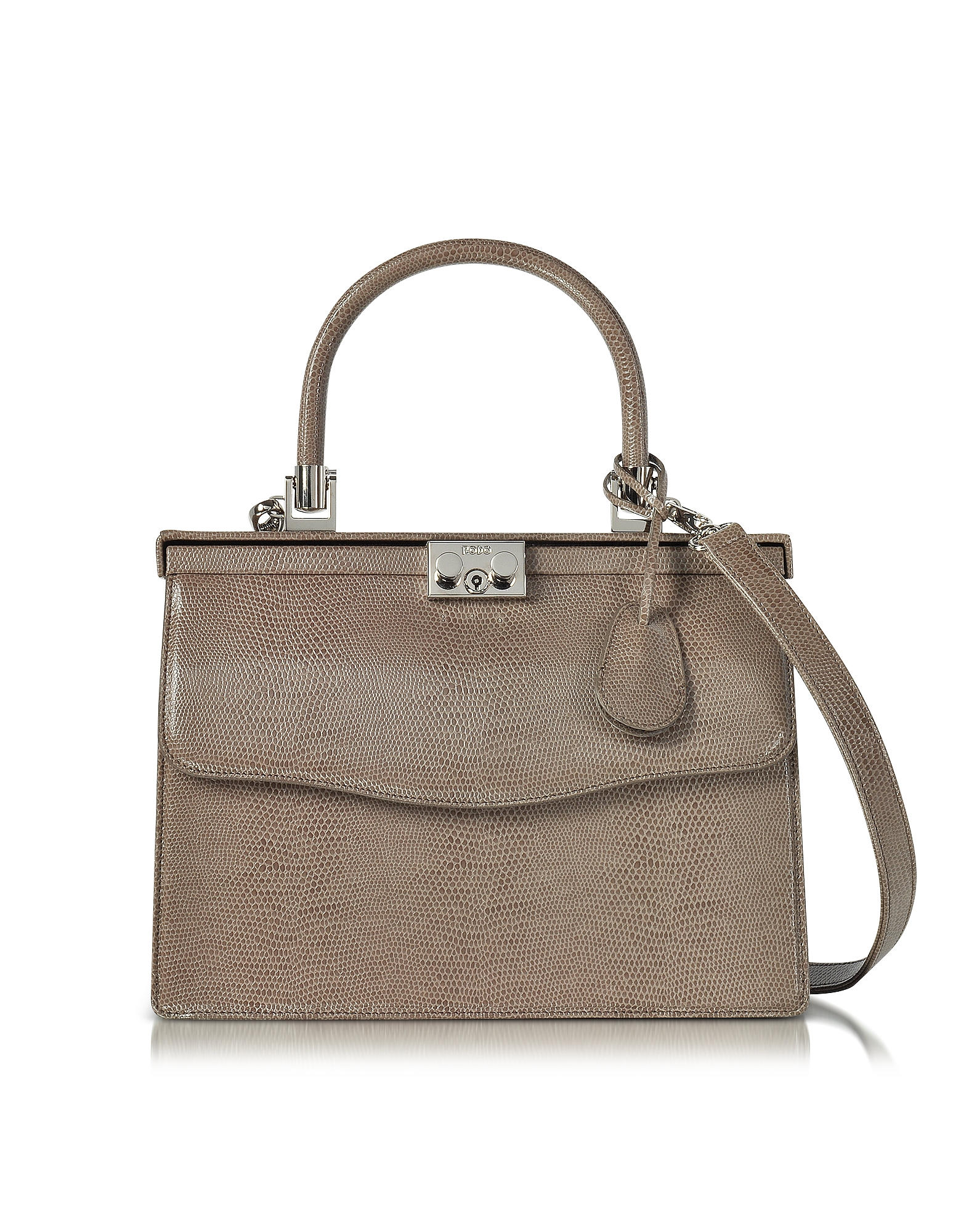 Rodo Handbags, Taupe Lizard Embossed Leather Top Handle Paris Bag