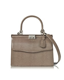 Taupe Lizard Embossed Leather Top Handle Paris Bag - Rodo