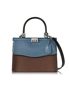 Black, Blue and Chocolate Nappa Leather Top Handle Paris Bag - Rodo