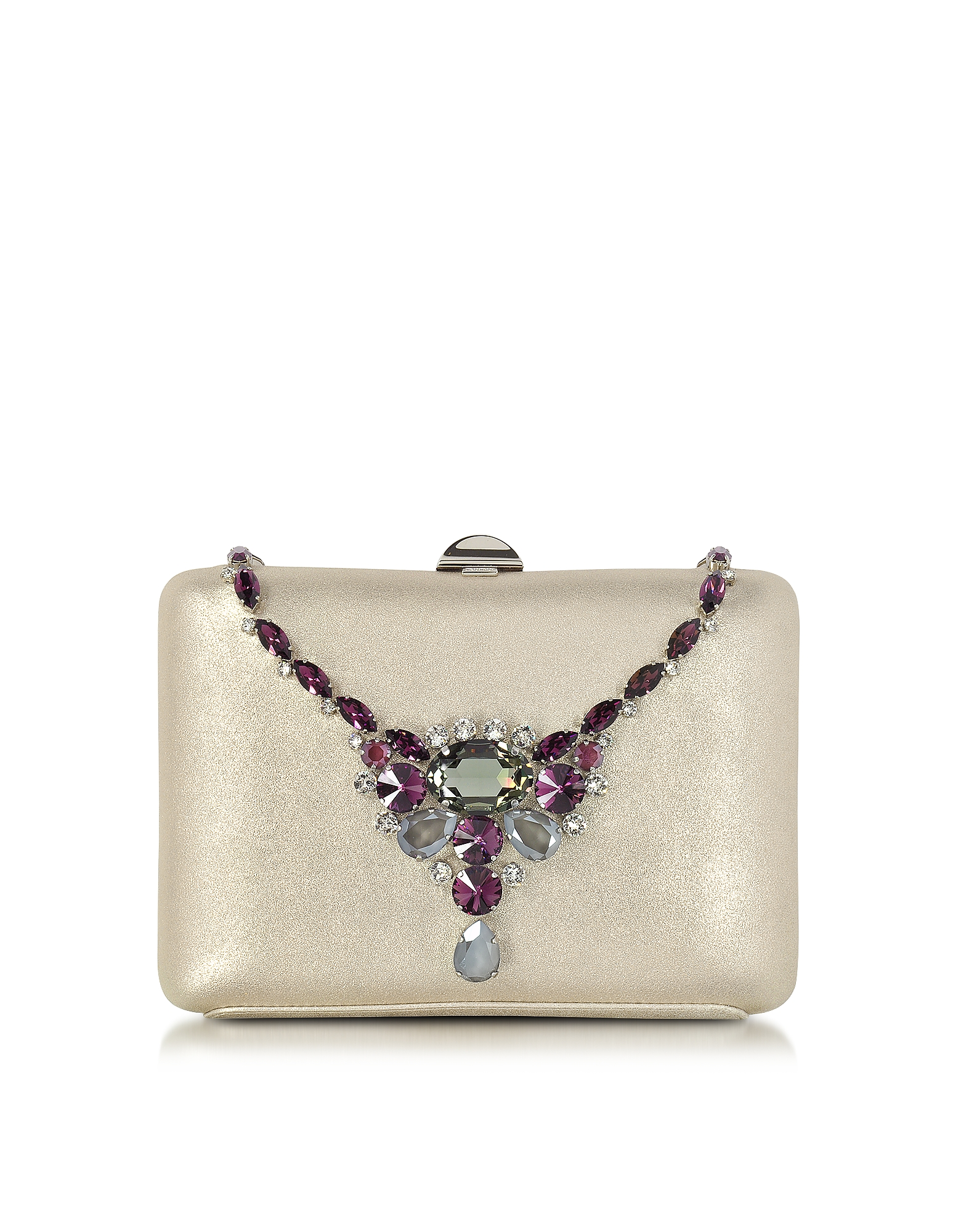 Rodo Handbags, Laminated Suede Collier Clutch w/Crystals