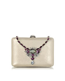 Laminated Suede Collier Clutch w/Crystals - Rodo