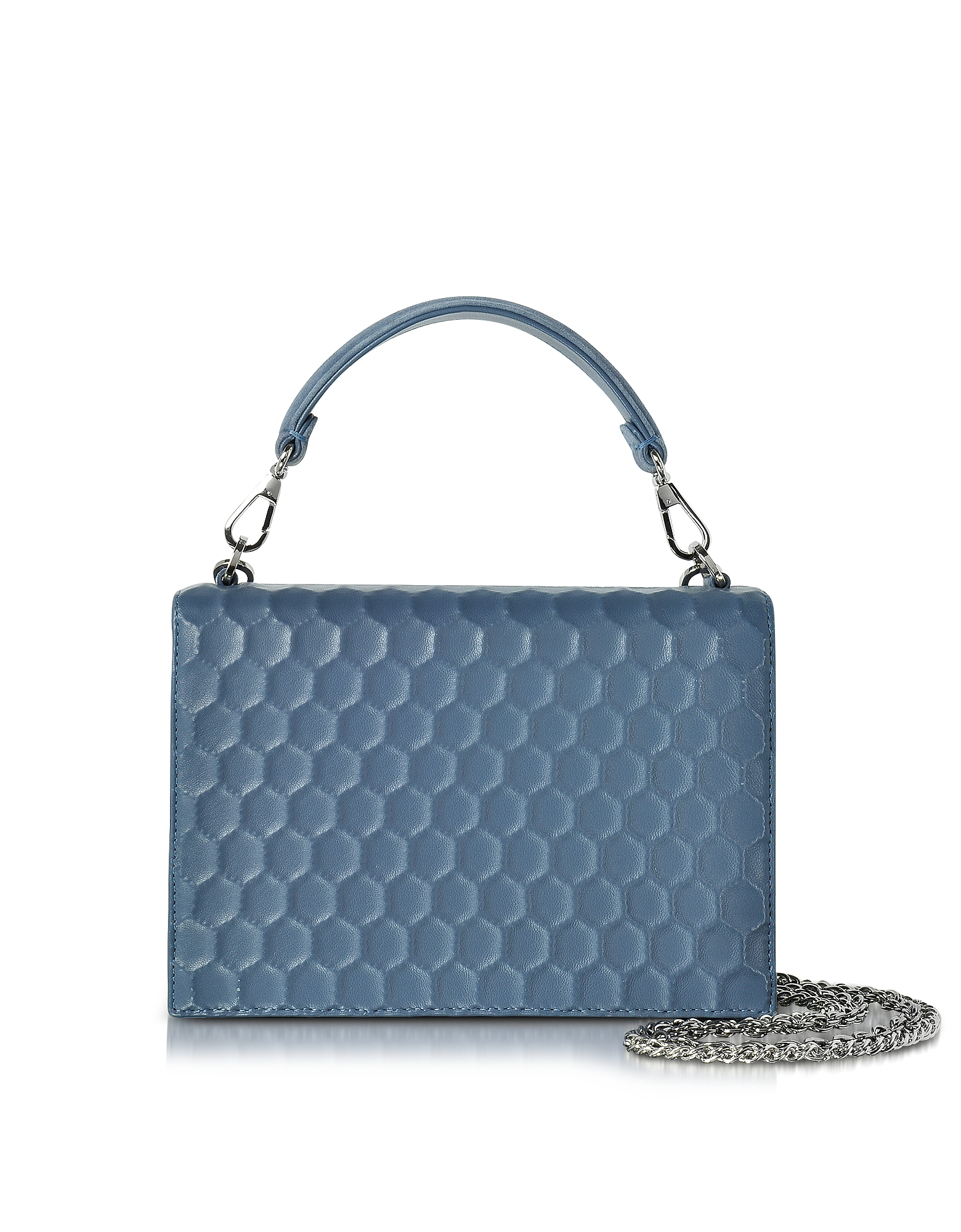 Rodo Handbags, Blue Nappa on Mesh Celebration Clutch w/Top Handle