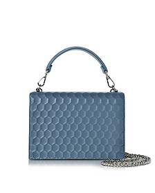 Blue Nappa on Mesh Celebration Clutch w/Top Handle - Rodo