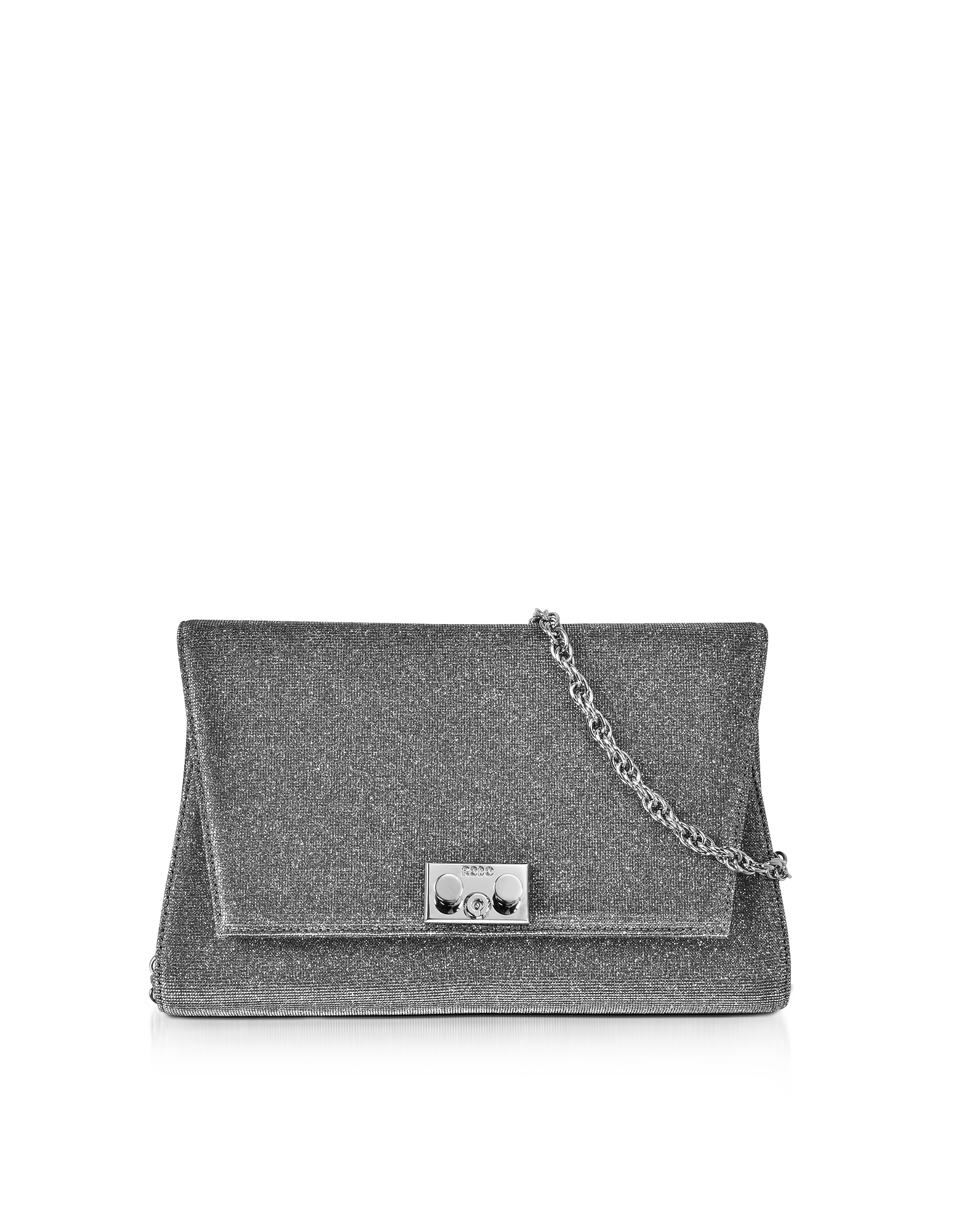 Rodo Handbags, Silver and Black Lurex Crossbody Clutch
