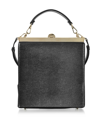 Black Lizard Embossed Leather and Suede Tote Bag
