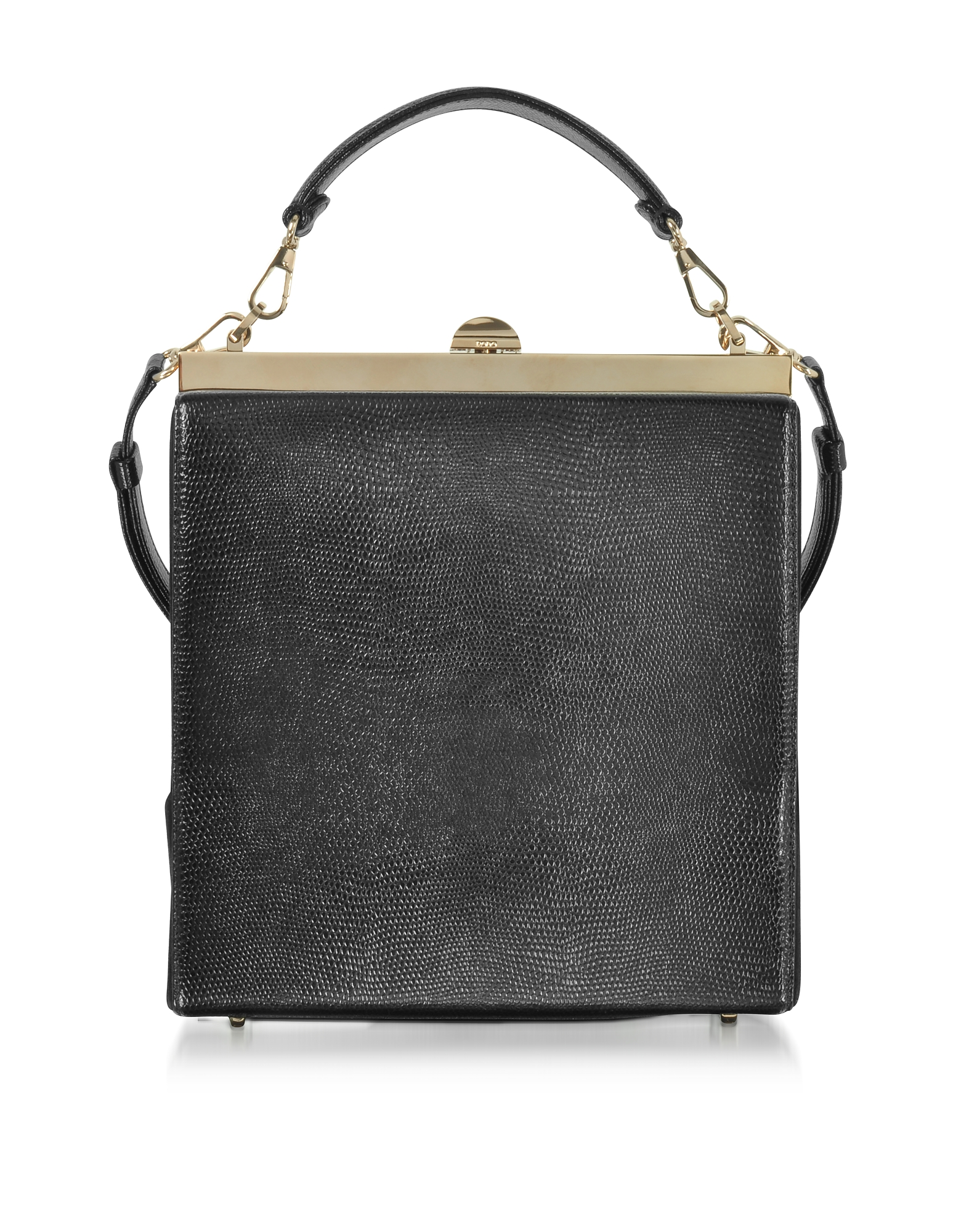Rodo Handbags, Black Lizard Embossed Leather and Suede Tote Bag