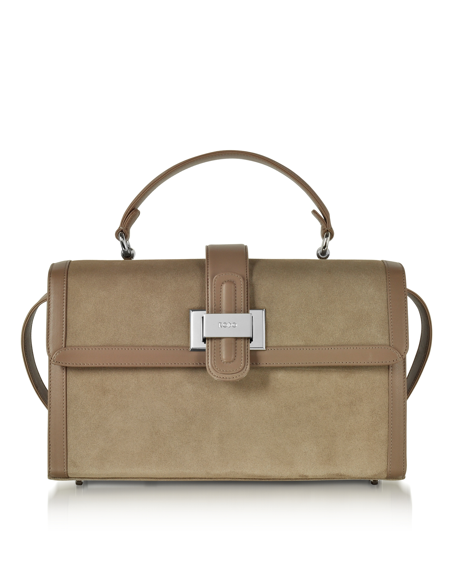 Rodo Handbags, Taupe Suede and Leather Lunch Bag