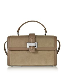 Taupe Suede and Leather Lunch Bag - Rodo