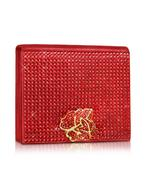 Rodo  Shimmering Leather Accordian Clutch with Swarovski Crystals