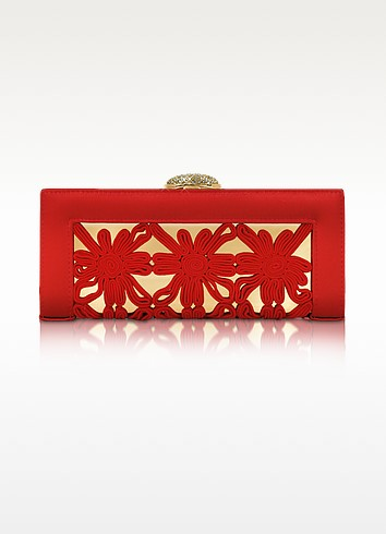 Macrame Leather Evening Clutch with Chain Strap - Rodo