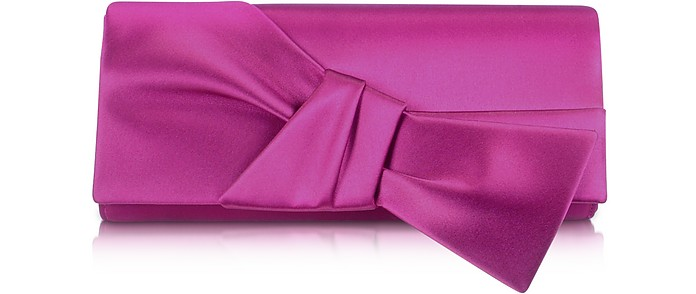 Front Bow Satin Evening Clutch - Rodo