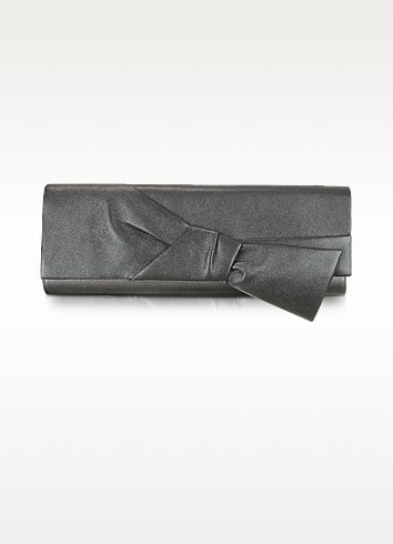 Front Bow Metallic Leather Evening Clutch - Rodo