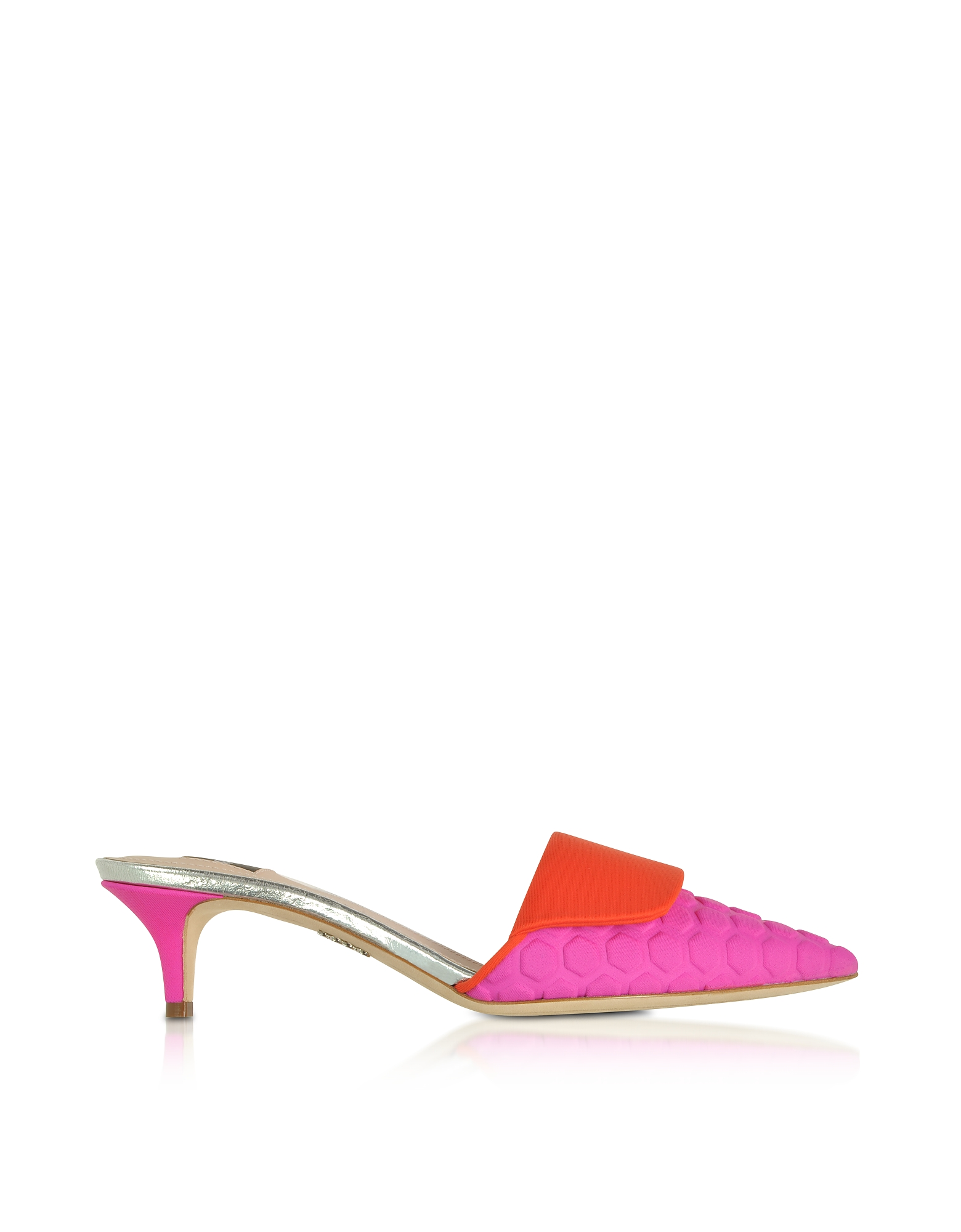 Rodo Shoes, Fuchsia and Red Scuba Fabric Kitten Heel Mules