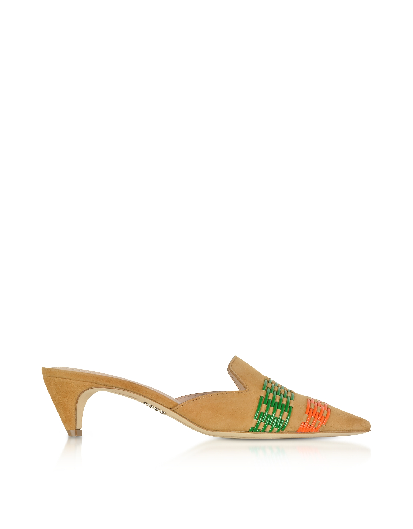 Rodo Designer Shoes, Mustard Suede 4MM Pointy Mules