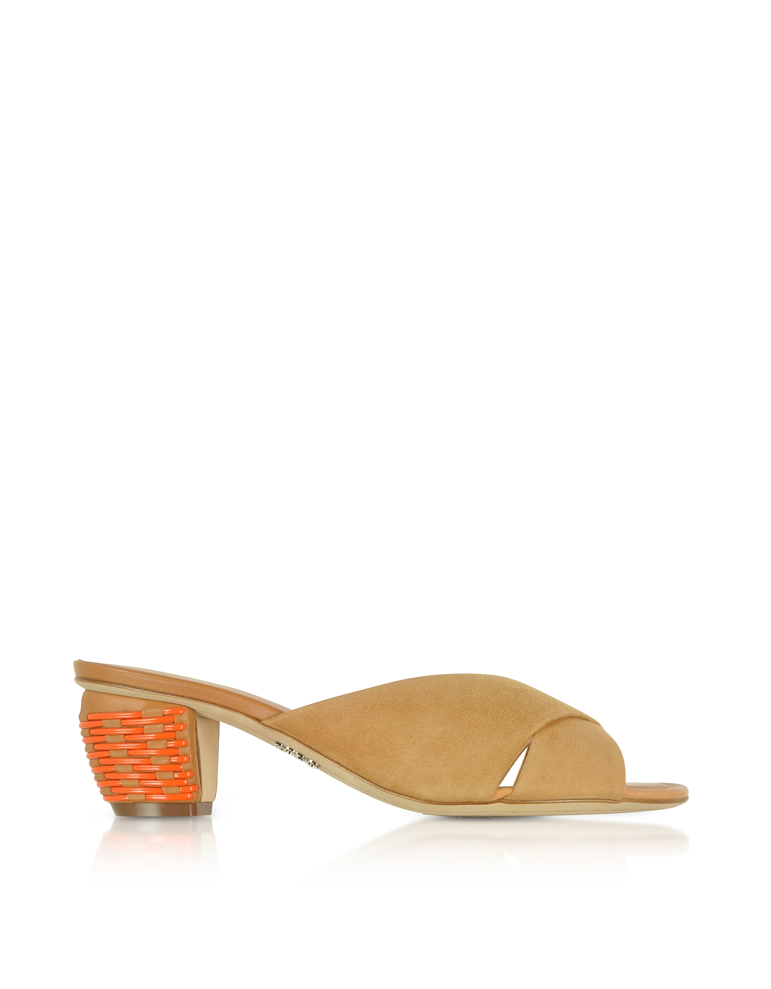 Rodo Shoes, Mustard Suede 5MM Criss-Cross Slide Sandals