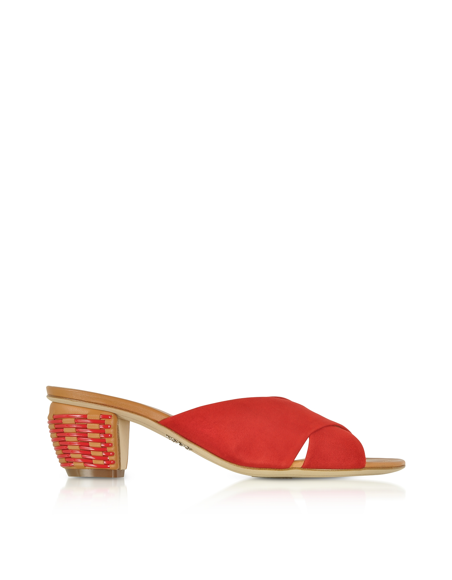 Rodo Shoes, Red Suede 5MM Criss-Cross Slide Sandals