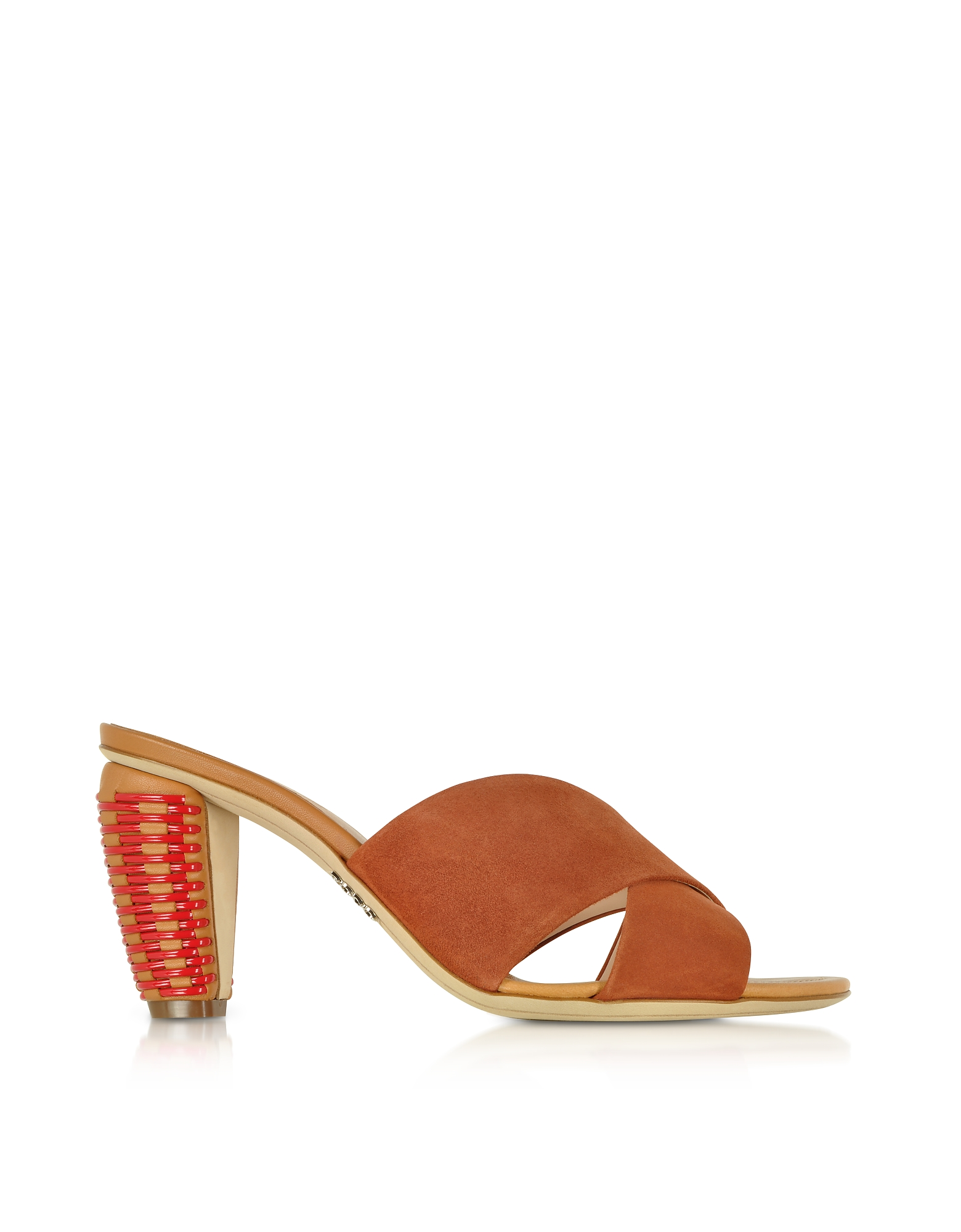 Rodo Shoes, Brown Suede 8MM Criss-Cross Slide Sandals