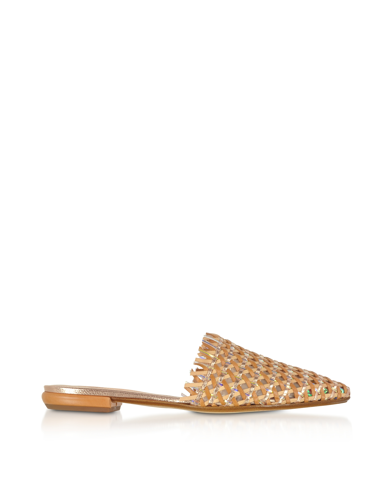 Rodo Designer Shoes, Brown and Rose Gold Woven Leather Flat Mules