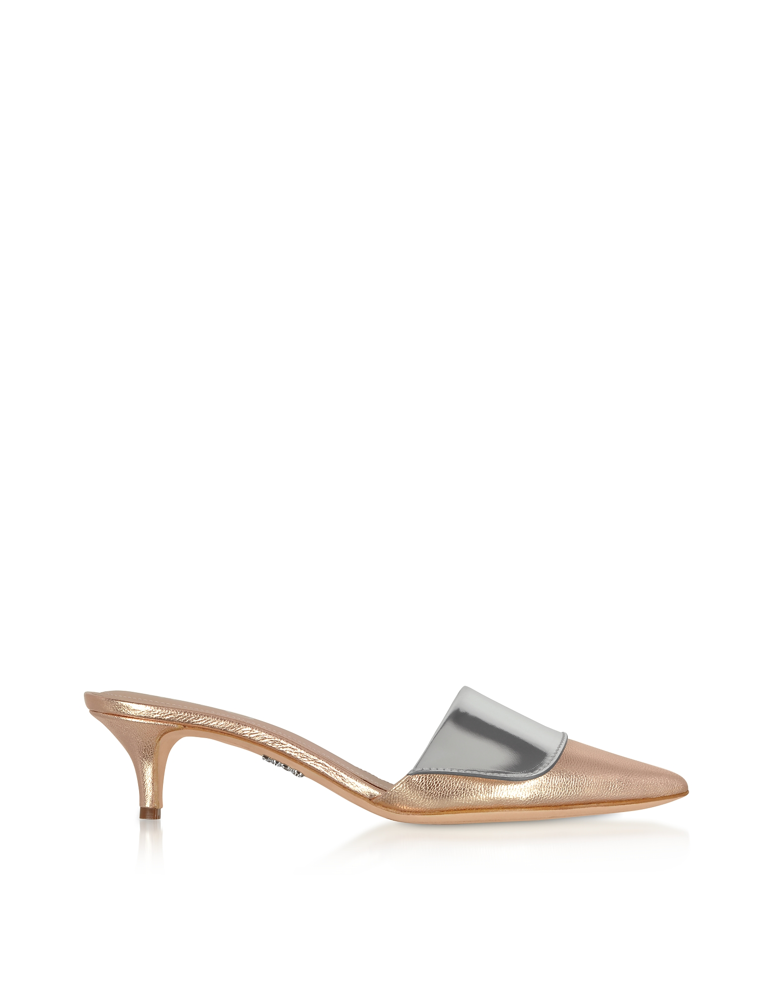Rose Gold & Silver Laminated Leather Kitten Heel Mules
