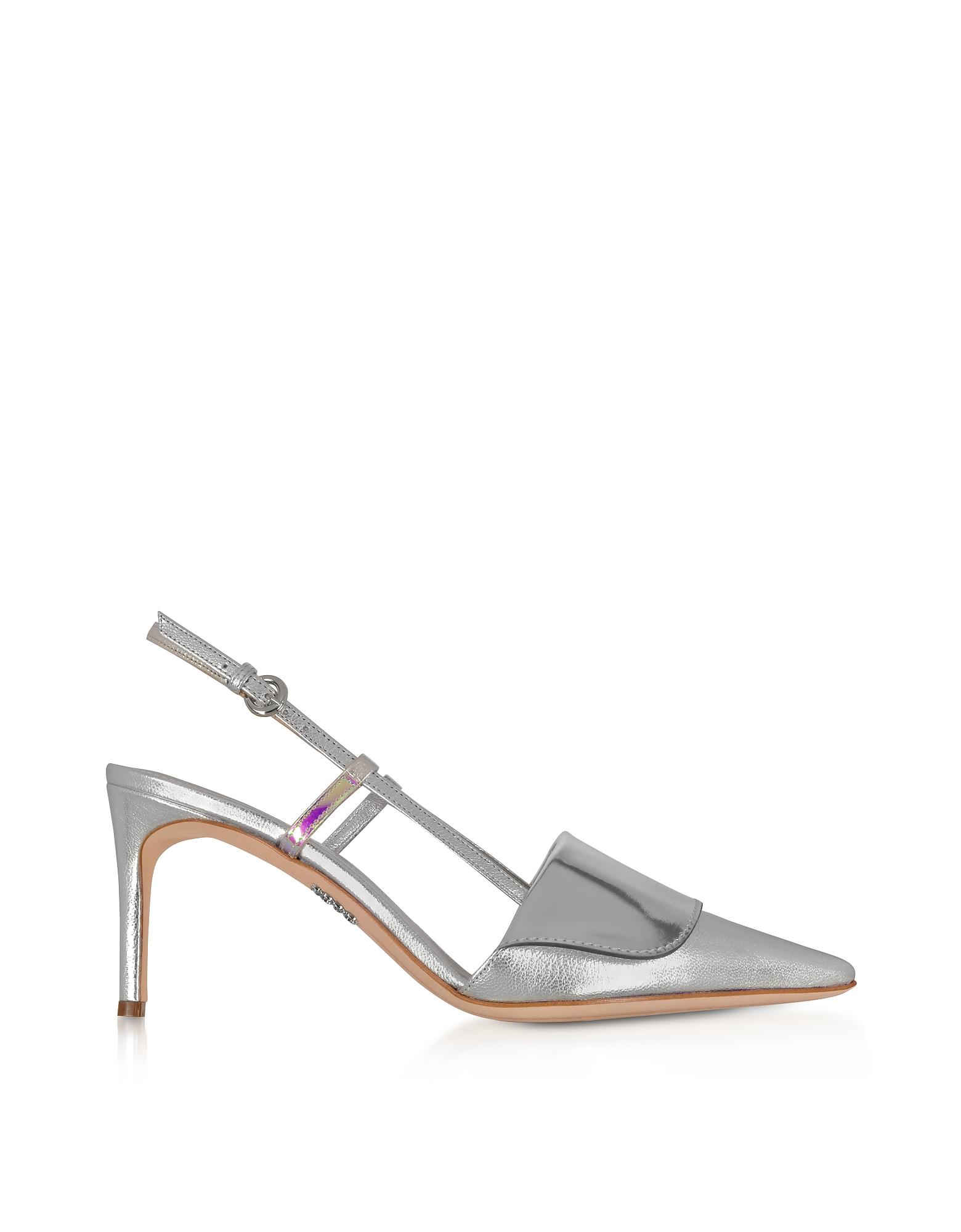 Rodo Designer Shoes, Silver Leather Women