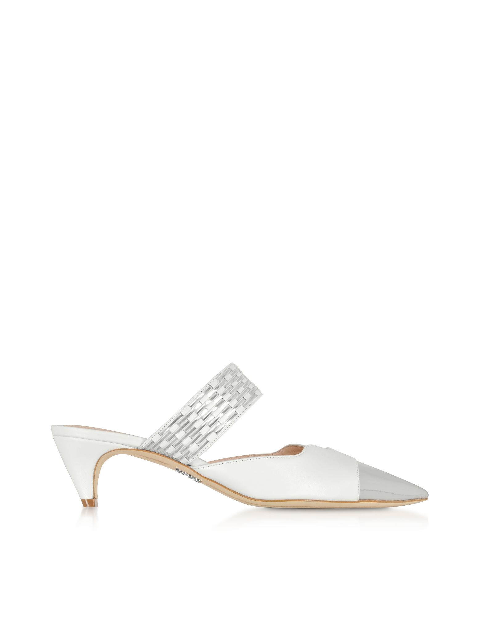 Rodo Designer Shoes, White Nappa Leather Leather Kitten Heel Mules