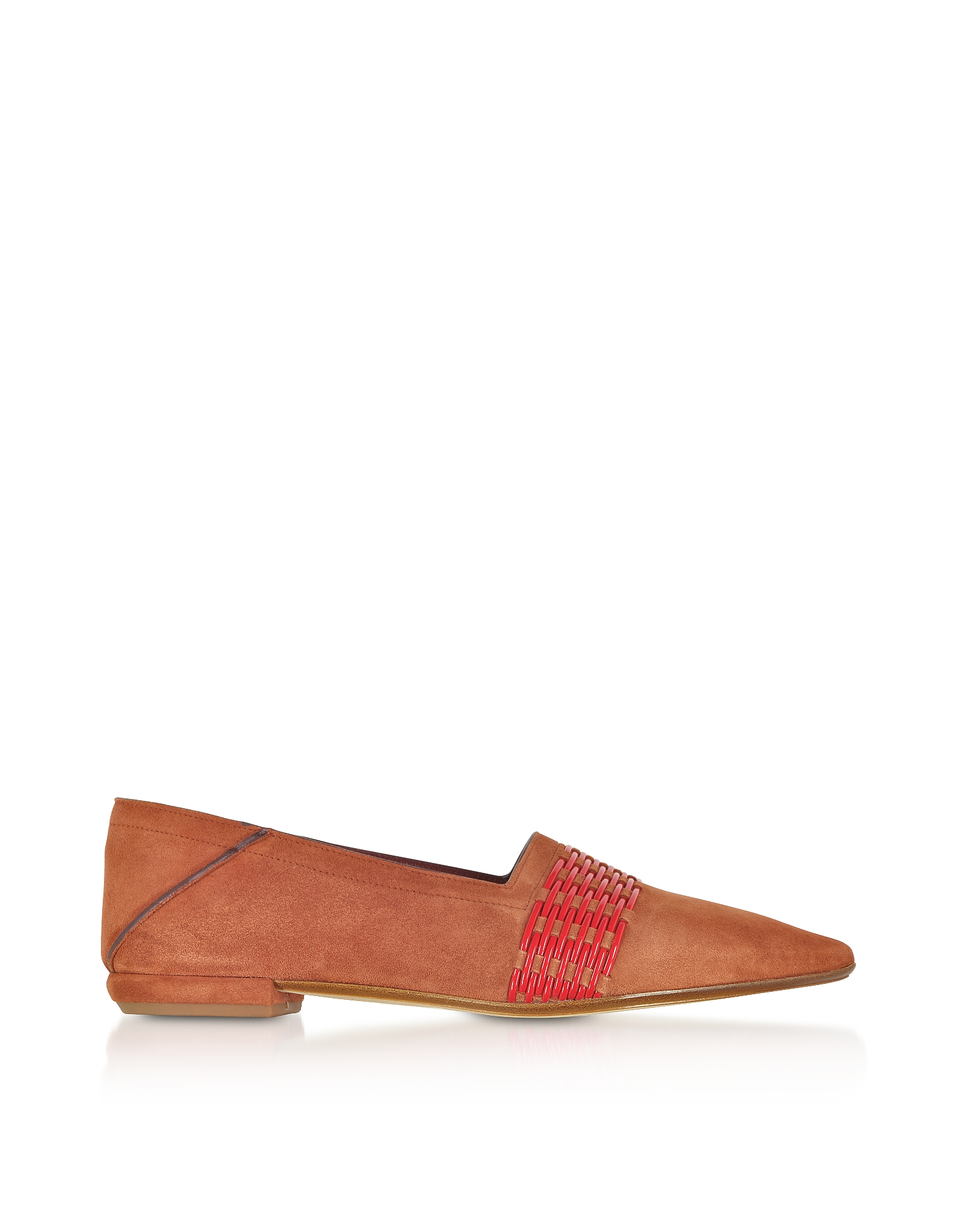 Rust Suede and Fiamma Red Fabric Loafers