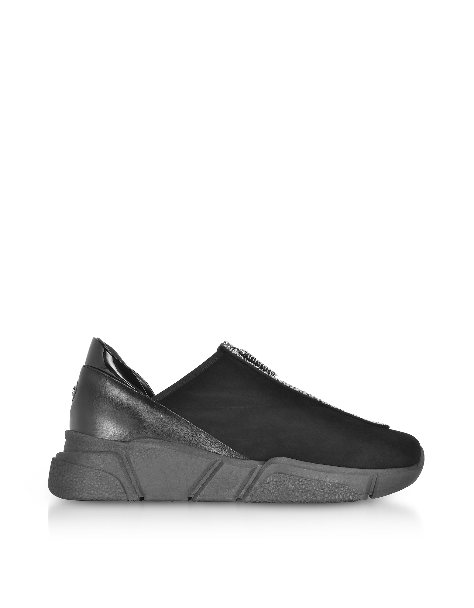 Rodo Shoes, Black Suede Zip Sneakers