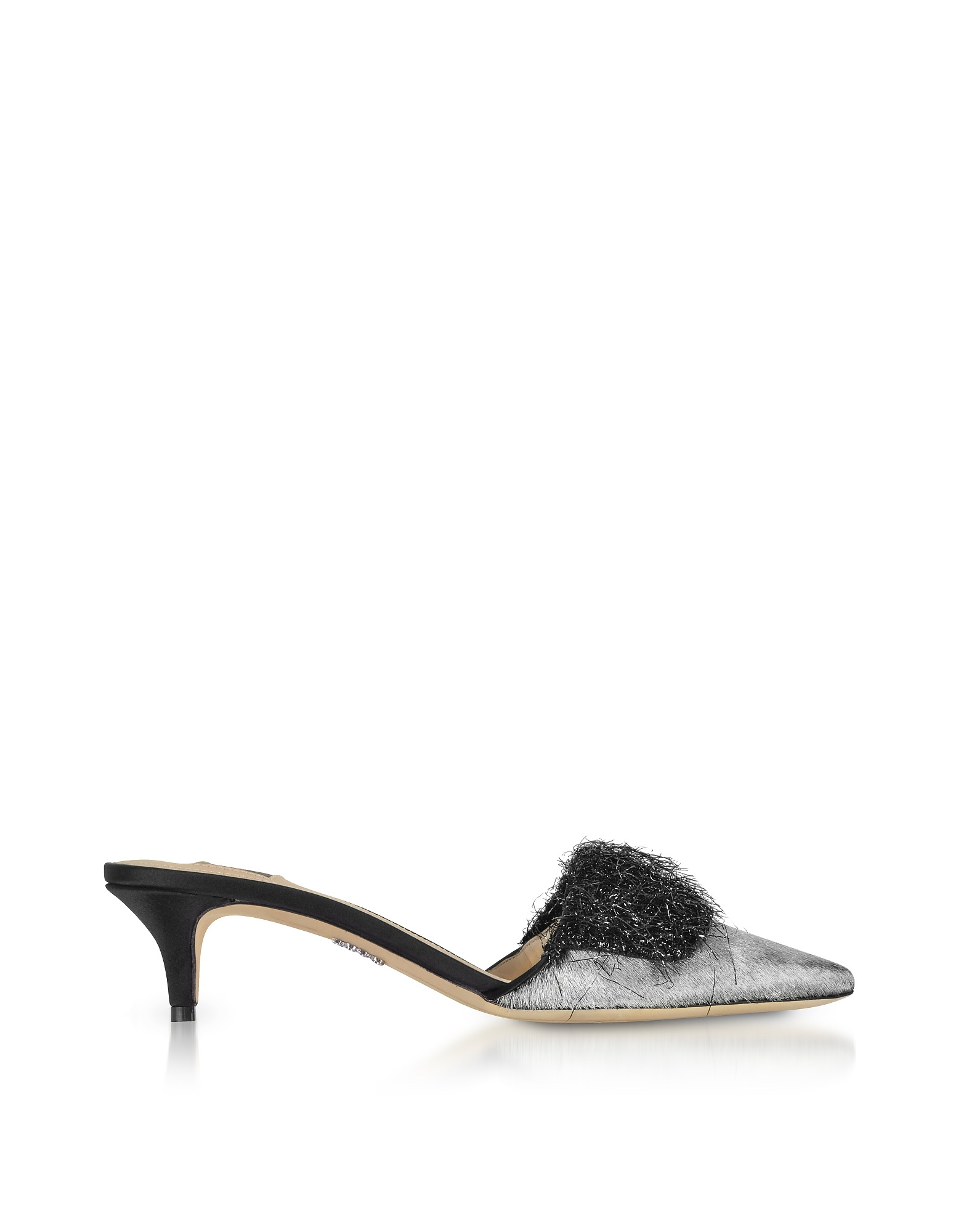 Rodo Designer Shoes, Silver Hair-calf and Black Fabric Kitten-Heel Mules