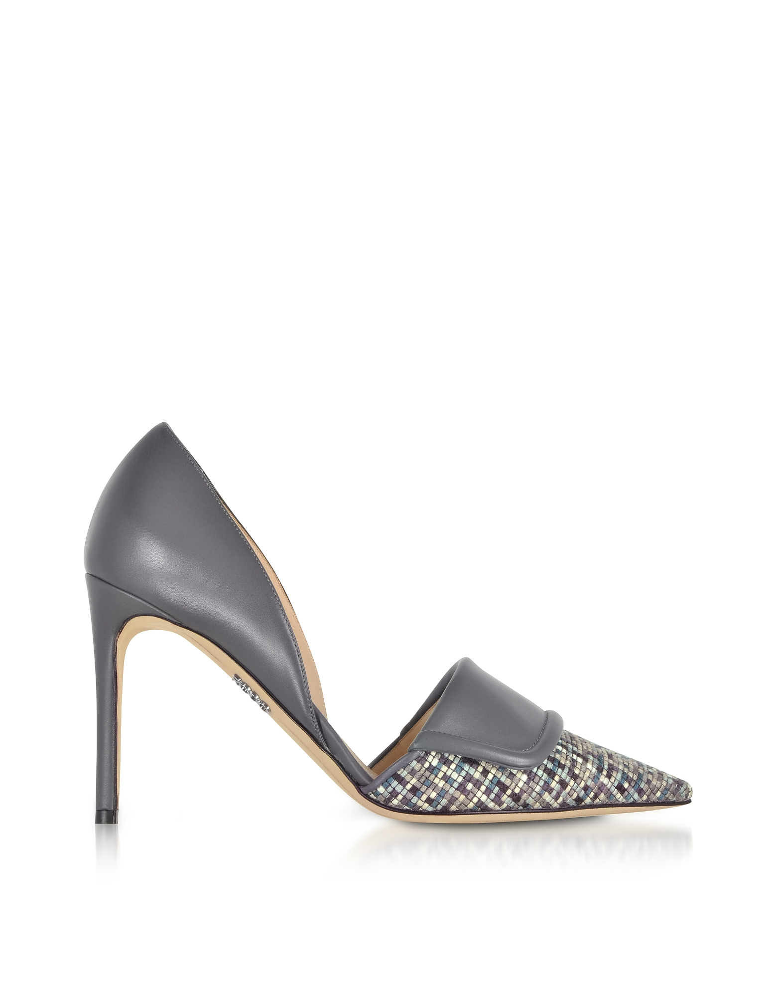 Rodo Designer Shoes, Leather and Tweed High Heel Pumps