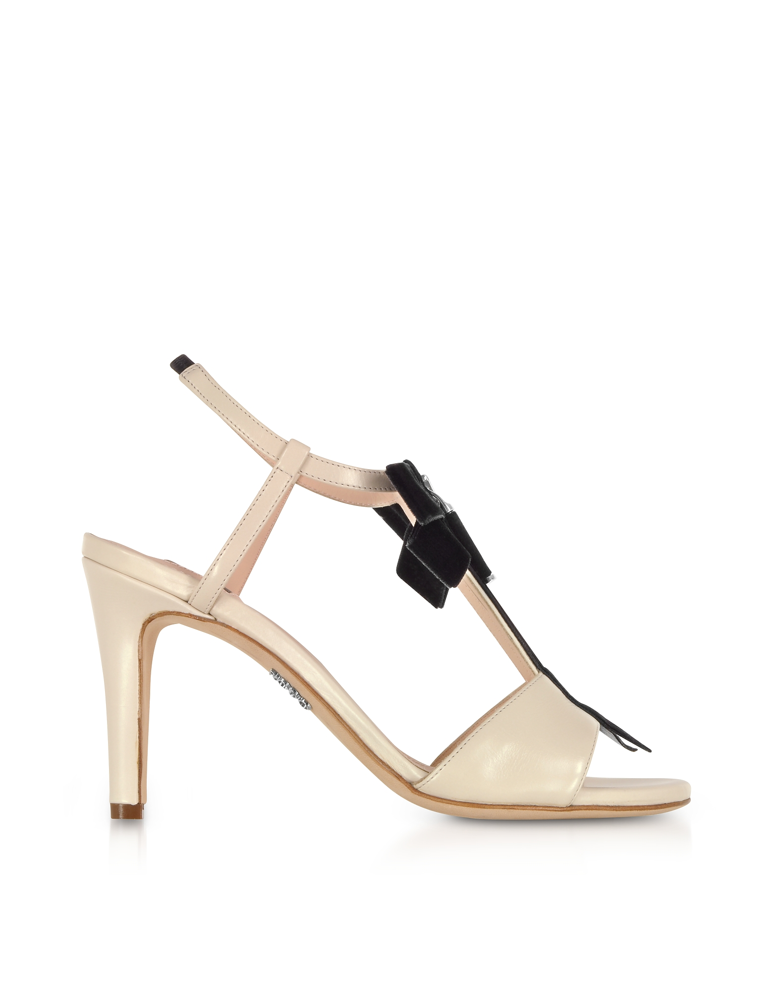 Rodo Shoes, Ivory Leather Zip Sandals w/Velvet Bow
