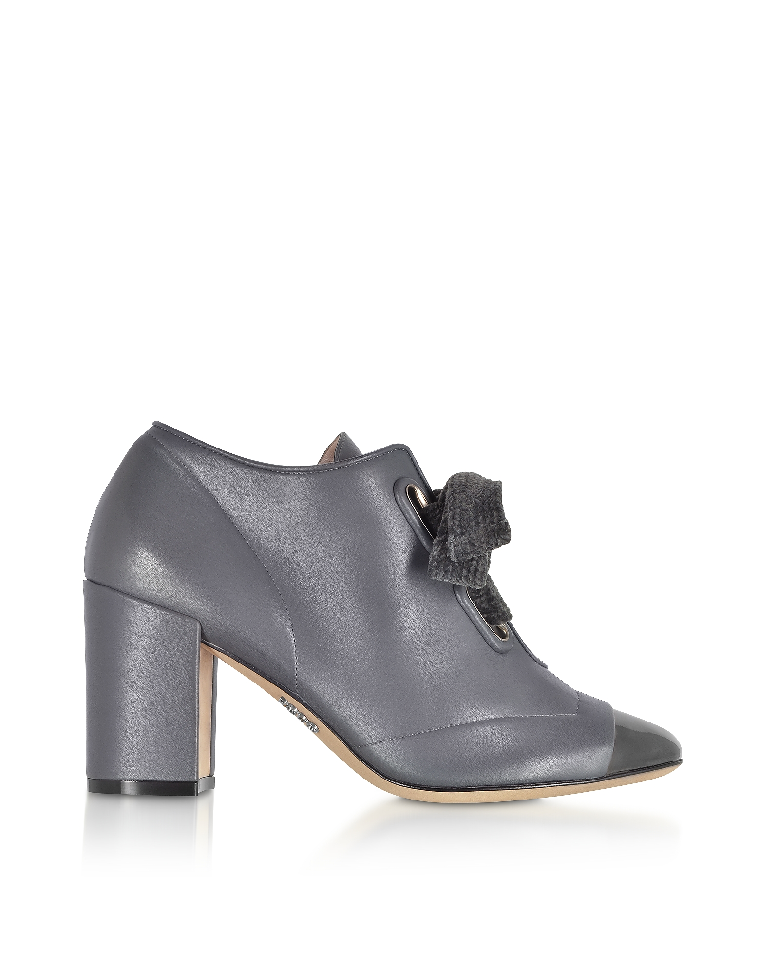 Rodo Shoes, Gray Leather Heel Pumps w/Velvet Bow