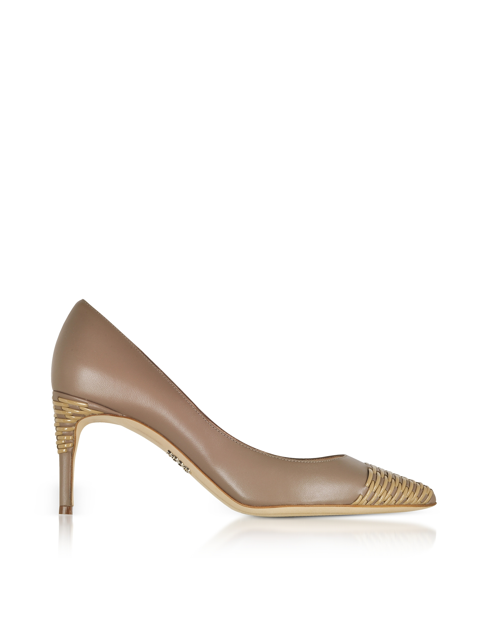 Rodo Designer Shoes, Taupe Smooth and Woven Leather Pointed Toe Heel Pumps