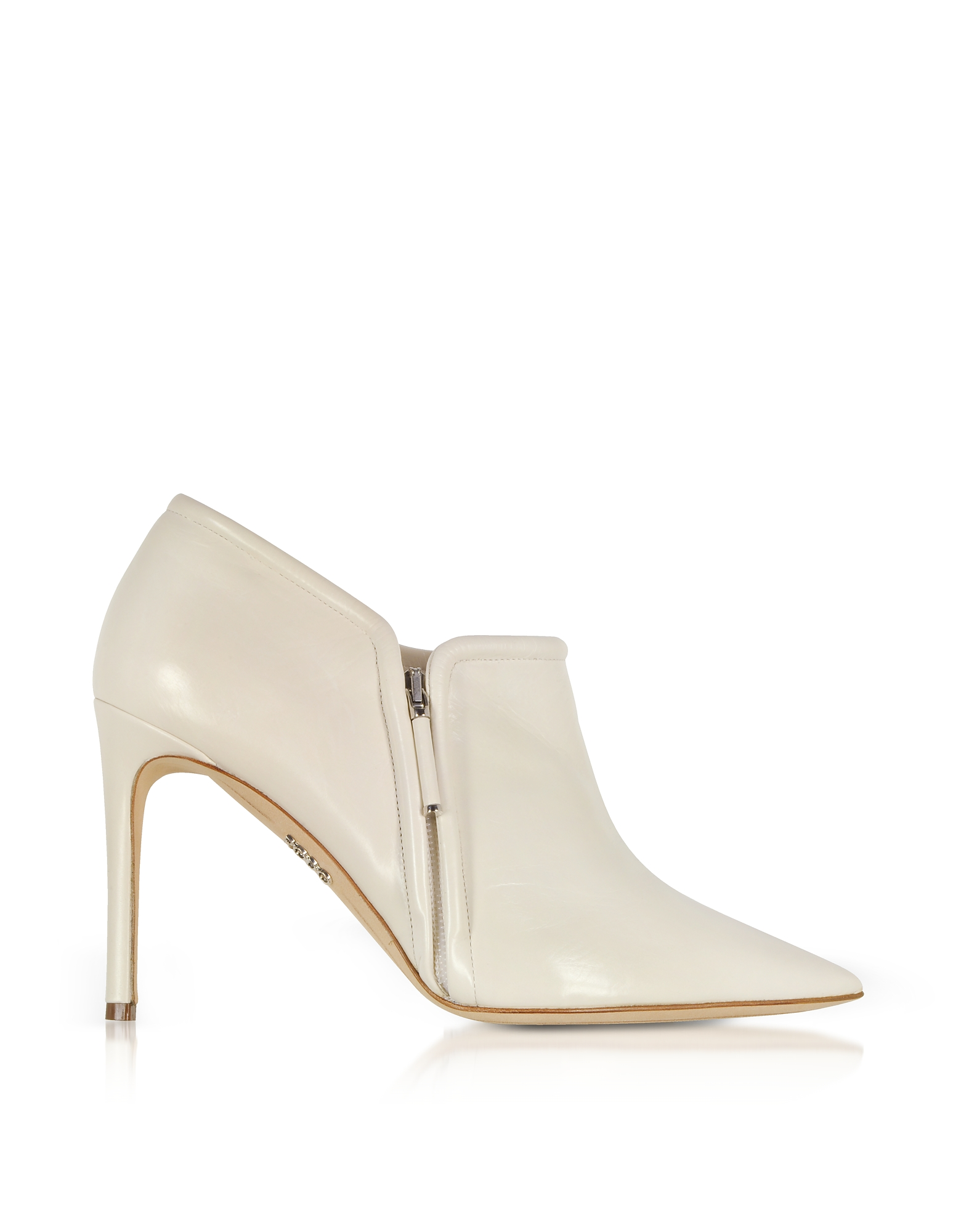 Rodo Designer Shoes, Ivory Leather High Heel Booties